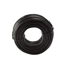 Black steel fixer handy coil against a white background