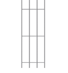 A cutting of prefabricated steel trench mesh against a white background