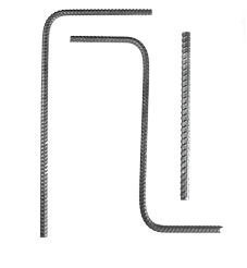 Three cut and bent stock rebar against a white background